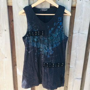 Oxygen black & blue textured tank - size L
